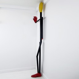 Midcentury Postmodern Steel and Wood Coat Stand in the Shape of a Man