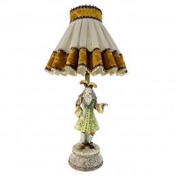 Baroque Bassano Porcelain Table Lamp of an Italian Aristocrat