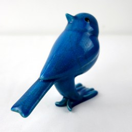 Set of 1 Duck and 4 Sparrows of Blue Ceramic made and signed by Georges Cassin
