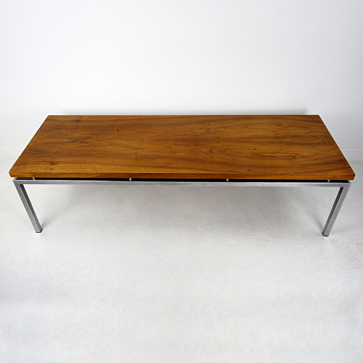 Long Midcentury Coffee Table With Chrome Frame And Teak Wood Top Doctor Decorum