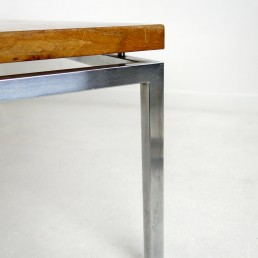 Long Midcentury Coffee Table with Chrome Frame and Teak Wood Top