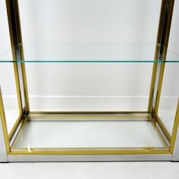 Set of 2 Hollywood Regency Étagères in Brass and Smoked Glass by Renato Zevi