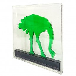 Op-Art Style Green Plexiglass Ostrich Made by Gino Marotta