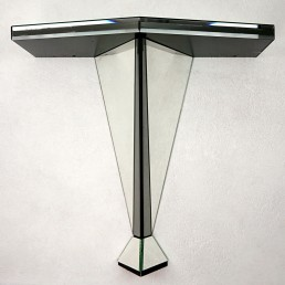 Postmodern Console or Side Table Made of Mirrored Glass