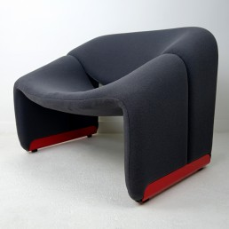 Pair of Groovy Chairs Grey Fabric and Red Feet by Pierre Paulin for Artifort