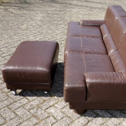 Mid-Century Modern Leather Sofa by Brazilian Designer Percival Lafer