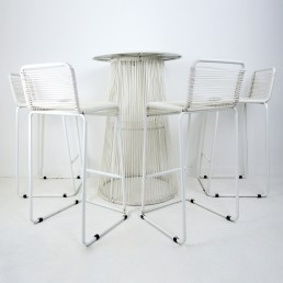 Mid-Century Modern White Table and 4 High Stools with Rubber Cord