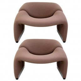 Pair of Groovy Chairs with Aluminium Feet by Pierre Paulin for Artifort