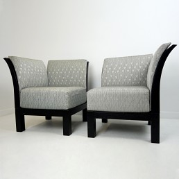 Pair of Postmodern Wooden Easy Chairs or Bench with Graphic Fabric by Thonet