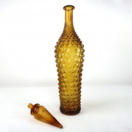 Ochre Midcentury Glass Genie Decanter with Stopper by Empoli