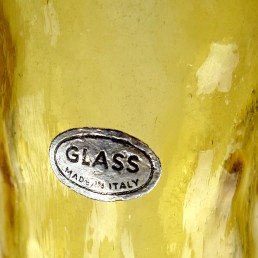 Yellow Midcentury Glass Genie Decanter with Stopper by Empoli