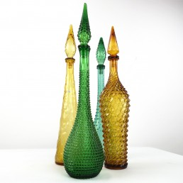 Dark green Midcentury Glass Genie Decanter with Stopper by Empoli