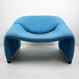 Pair of Groovy Chairs Blue Fabric and Grey Feet by Pierre Paulin for Artifort
