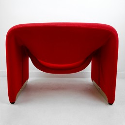 Pair of Groovy Chairs Red Fabric and Grey Feet by Pierre Paulin for Artifort