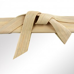 Postmodern Rattan Mirror in the Shape of a Ribbon with Bow by Betty Cobonpue