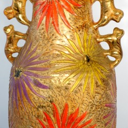 Large Vase with Lions and Asters Designed by Hubert Bequet for Quaregnon