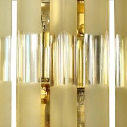 Set of 3 Mid-Century Modern Venini Sconces Made of Brass and Murano Glass