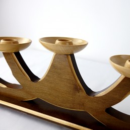 Mid-Century Modern Five Armed Candleholder in Two Wood Colors