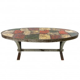 Mid-Century Modern Coffee Table with Tiles Signed Barrois for Vallauris