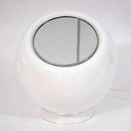Mid-Century Modern Milk Glass Table Lamp with Built in Mirror