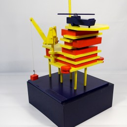 One of a Kind Miniature Stylized Oil Rig Made of Wood Painted in De Stijl Colors