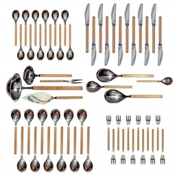 Hollywood Regency 67 Piece Service in Silver and Gold Plate Made by Michelin