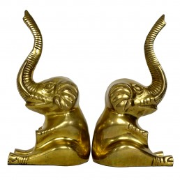 Pair of Hollywood Regency Cheerful Brass Elephants