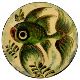 Set of 4 Ceramic Wall Plates with Fish Decor Signed by Spanish Maker Puigdemont