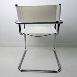 Set of 4 Cantilever Bauhaus Tubular Chrome Dining Chairs with White Leather