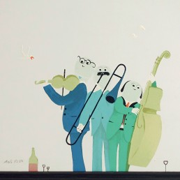 Five Stylish Paintings by German Artist Barbara Oldenburg with Comical Elements