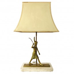 Neoclassical Table Lamp with Marble Foot and Egyptian Warrior under the Shade