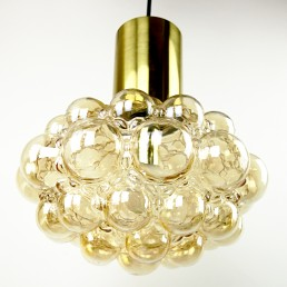 Mid-Century Modern Glass and Brass Bubble Pendant by Helena Tynell