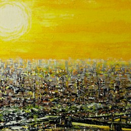 Glorious Golden Portrait of the City of London at Dawn Signed Rodrig