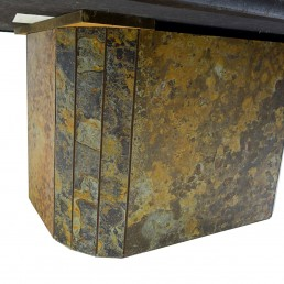 Brutalist Coffee Table Attributed to Paul Kingma Made of Stone, Slate and Brass