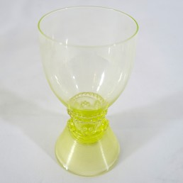 "Set of Eleven 18th Century Dutch Wine Glasses ""Roemers"" Yellow / Green Feet"