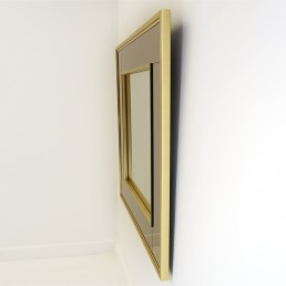 Hollywood Regency Square Two-Toned Mirror in Brass Frame