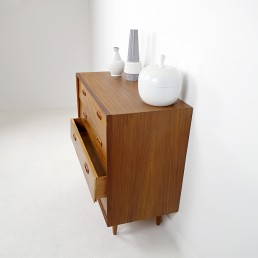 Mid-Century Modern Wooden Chest of Drawers Attributed to Louis Van Teeffelen