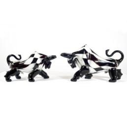 Postmodern Style Pair of Murano Glass Bulls with Checkered Pattern