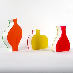 Set of Three Colorful Stylized Plexiglass Vases by Villeroy & Boch