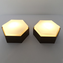 "Mid-Century Modern Set of 4 Sconces or Flush Mounts ""Hexagon"" by RAAK Amsterdam"