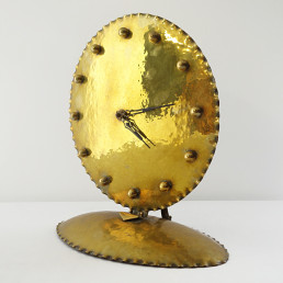 Early 20th Century Stylish Brass Table Clock in Amsterdamse School Style