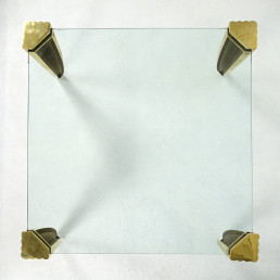 Square Hollywood Regency Coffee Table Made of Glass and Brass by Ghyczy