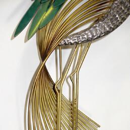 "Hollywood Regency Brass Wall Sculpture ""Silver Heron"" Bird by Curtis Jere"