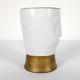 Postmodern Gilded Ceramic Vase with a Face Designed by Fornasetti Milano