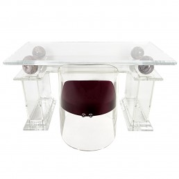 Mid-Century Modern Charles Hollis Jones Style Lucite Writing Table with Chair