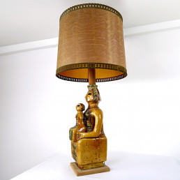 Impressive Ceramic Floor or Table Lamp in Mystic and Majestic Mayan Style