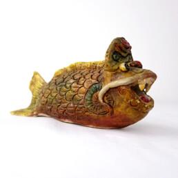 Unique Piece of Art Ceramic Monster Fish Made by Artist Tjen Tjauw-Soe