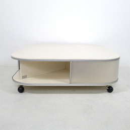 Rare 1980s Modern Off-White Square Coffee Table with Storage by Pastoe
