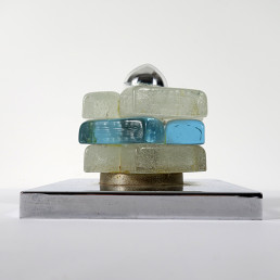 1970s Italian Chrome and Murano Glass Table Lamp or Flushmount by Poliarte