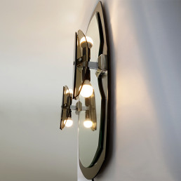 Hollywood Regency Two-Toned Mirror with Lights made by Veca